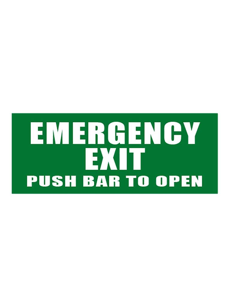 Emergency Exit Push Bar To Open - Green Sign