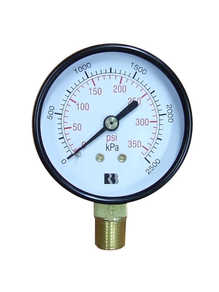 Hydrant Pressure Gauge 2500Kpa Dry - Small (63mm) Lower Entry