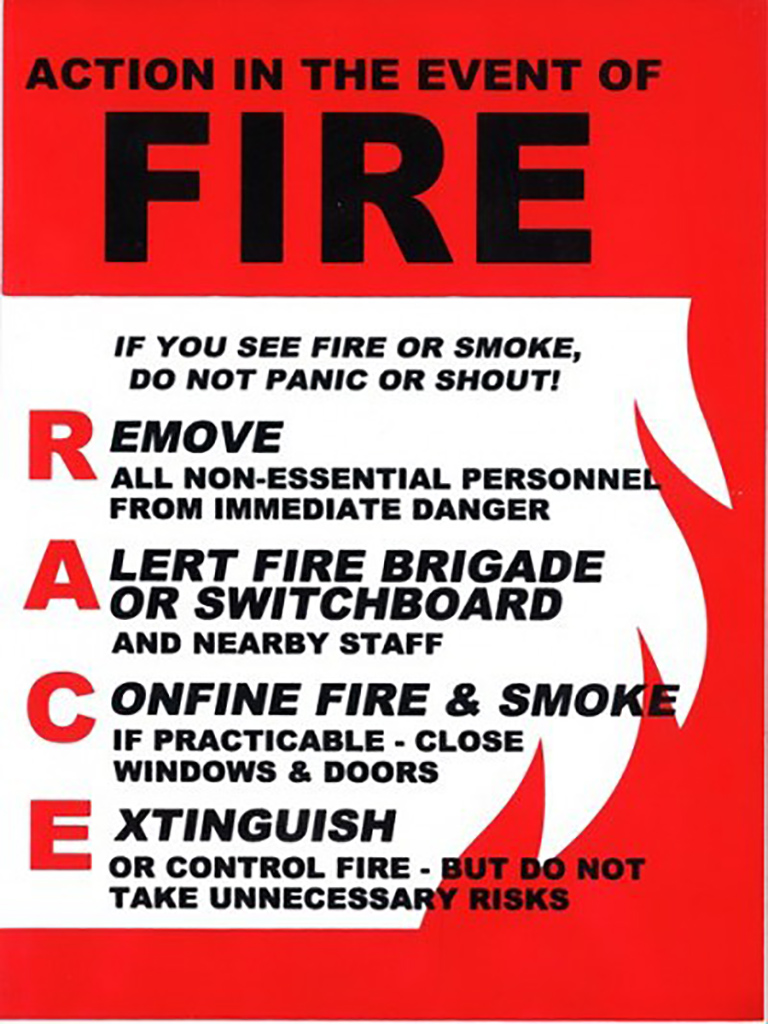 Action In The Event of Fire (RACE) Sign
